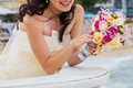 Bride and bouquet wedding bouquet in the hands of the holding a Stock Photography