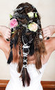 Bride with braids and roses Royalty Free Stock Images