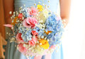 Bride or bridemaid with bouquet Stock Photos