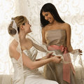 Bride and bridesmaid Stock Photo