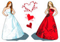 Bride and bridesmaid vector Stock Photo
