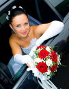 Bride in the car Royalty Free Stock Photo