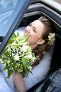 Bride in the car pretty Stock Photo