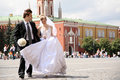 Bride and fiance in Moscow Stock Photography