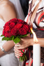 Bride flowers the hold by godmother Stock Image