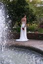 Bride and Fountain Stock Image