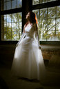 Bride in front of a window as the light come true the dress Royalty Free Stock Photos