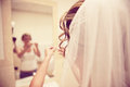 Bride getting ready vintage portrait of the back of vanity mirror Royalty Free Stock Photos