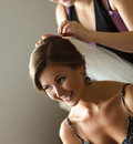 Bride getting ready for the wedding beautiful caucasian Royalty Free Stock Image