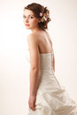 Bride glanses over her shoulder Royalty Free Stock Photos