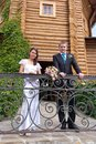 The bride and groom on the backdrop Royalty Free Stock Photo