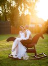 Bride and groom beautiful portrait in nature Stock Photography