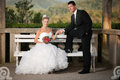 Bride and groom on a bench in a park wedding day Stock Photography