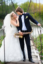 Bride and groom on the bridge with a saxophone Stock Photography
