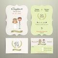 Bride & Groom Cartoon Romantic Farm Wedding Invitation Card and RSVP
