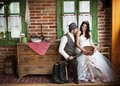 Bride and groom country style wedding beautiful their Royalty Free Stock Photo