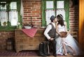 Bride and groom country style wedding beautiful their Royalty Free Stock Photos