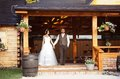 Bride and groom country style wedding beautiful their Stock Photos