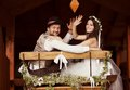 Bride and groom country style wedding beautiful their Stock Photo