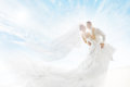 Bride and Groom Couple Dancing, Wedding Dress Long Veil Royalty Free Stock Photo
