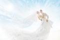 Bride and Groom Couple Dancing, Wedding Dress Long Veil