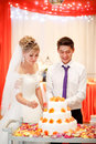 Bride and groom cut the cake at a banquet with orange flowers in decoration. Royalty Free Stock Photo