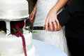 Bride and groom cutting wedding cake Royalty Free Stock Photos