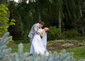 Bride and groom dancing Stock Photography