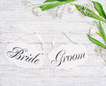 Bride and groom decoration boards and flower decor Royalty Free Stock Photo