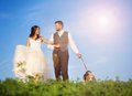 Bride and groom with dog walk their beagle in the green field Royalty Free Stock Photography