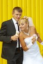 The bride and groom eat ice cream funny yellow background Stock Photos