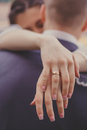 Bride and groom. Embrace. Royalty Free Stock Photo