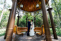 Bride and groom embrace and look at each other in the arbour. Couple in love at wedding day in the park Royalty Free Stock Photo
