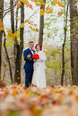 The bride and groom and falling autumn leaves Royalty Free Stock Photo