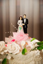 Bride and groom figurines Royalty Free Stock Photo