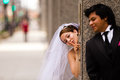 Bride and groom first look in downtown area Royalty Free Stock Photos