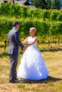 Bride and groom first look a men women share a moment as outdoors at a winery vineyard in oregon Stock Images