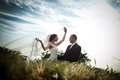 Bride and groom happy on their wedding day Royalty Free Stock Image