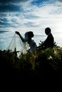 Bride and groom happy on their wedding day Royalty Free Stock Photos