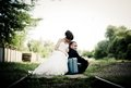 Bride and groom happy on their wedding day Royalty Free Stock Photo