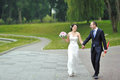 Bride and groom having fun in a park Royalty Free Stock Photography