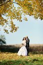 Bride and groom having a romantic moment on their wedding Royalty Free Stock Image