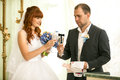 Bride and groom holding glasses of champagne portrait Royalty Free Stock Photography