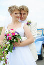 Bride and groom hugging Royalty Free Stock Images