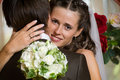 Bride and groom hugging Stock Photo