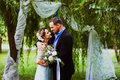 Bride and groom are hugging Royalty Free Stock Photo