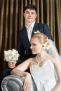 Bride and groom in interior Royalty Free Stock Photo