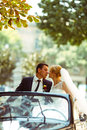 Bride and groom kiss under green tree branches sitting in a blac Royalty Free Stock Photo