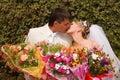 Bride groom kissing Arkivbilder