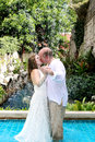 Bride and groom kissing. Stock Image